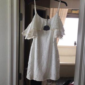 Brand new ivory eyelet cold shoulder dress!